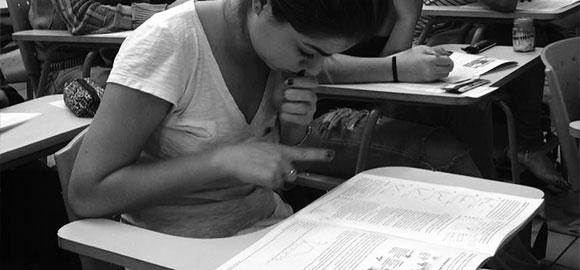 Alunos estudando material